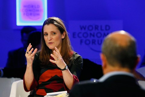 Chrystia Freeland, Digital Editor Thomson Reuters, gestures during the annual meeting of the World Economic Forum (WEF) in Davos, Switzerland, Jan. 25, 2013.