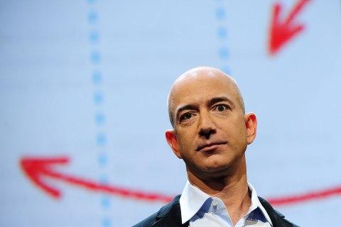 Amazon CEO Jeff Bezos addresses a press