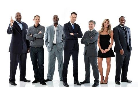 FOX Sports Live team Ephraim Salaam, Andy Roddick, Gary Payton, Jay Onrait, Dan O'Toole, Charissa Thompson, Donovan McNabb