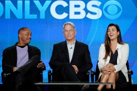 Carroll, Harmon and de Pablo participate in a panel for CBS series NCIS at the Television Critics Association winter press tour in Pasadena