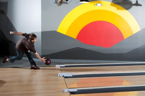 Google bowling alley at Google headquarters in Mountain View, Calif.