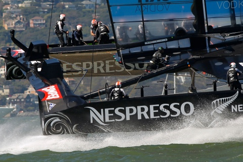 Emirates Team New Zealand sails during their win against Oracle Team USA in Race 9 of the 34th America's Cup yacht sailing race in San Francisco, California