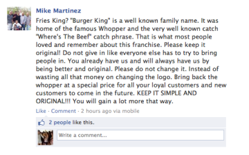 Burger King Facebook Name Change