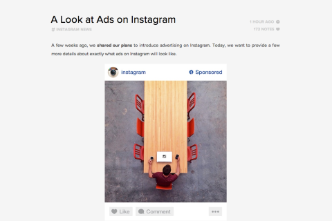 Instagram ad sample blog post