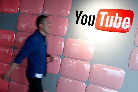 Google Inc.'s YouTube logo at the company's YouTube Space studio in Tokyo, on March 30, 2013.