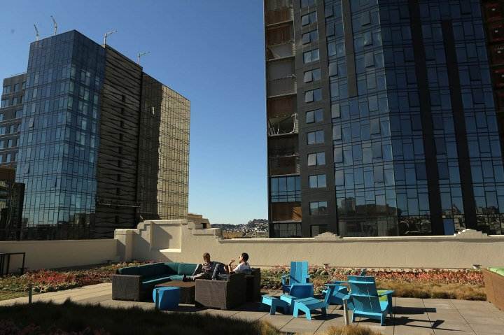 Twitter employees relax at a rooftop spot at the company's headquarters in San Francisco