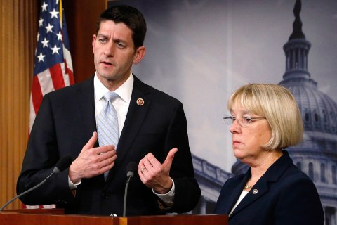 Ryan and Murray hold a news conference to introduce The Bipartisan Budget Act of 2013 at the U.S. Capitol in Washington