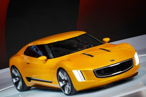 The Kia GT4 Stinger concept car is displayed during the press preview day of the North American International Auto Show in Detroit