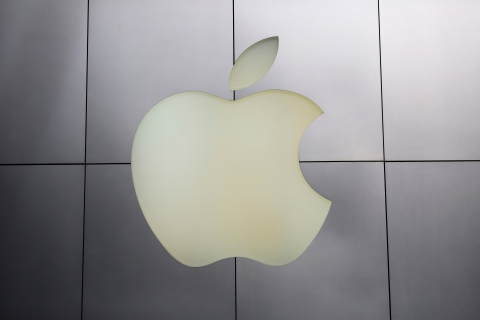 The Apple logo at its flagship retail store in San Francisco, on Jan. 27, 2014.