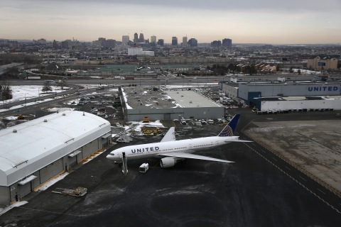 A United Airlines jet at Newark Liberty International Airport on January 31, 2014 in Newark, N.J.