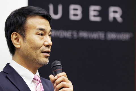 "Takeji ""Tak"" Shiohama, president of Uber Japan Co., speaks at a news conference in Tokyo, on March 3, 2014."